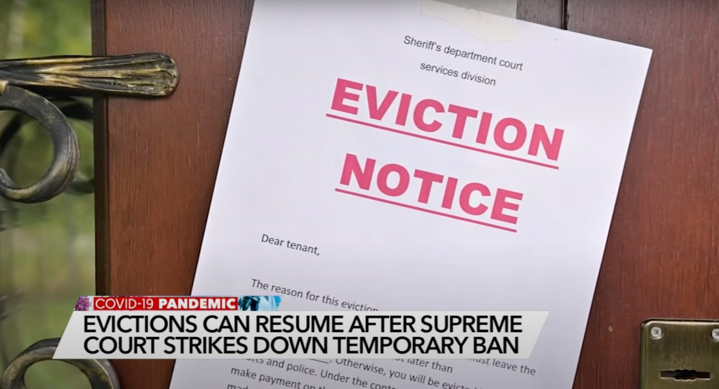 Picture of eviction notice in a sotry about the Supreme Court overturning the eviction moratorium