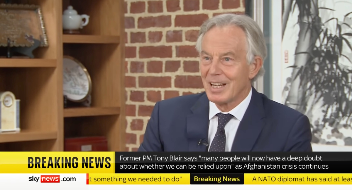 Tony Blair speaking about the Afghanistan crisis on Sky News