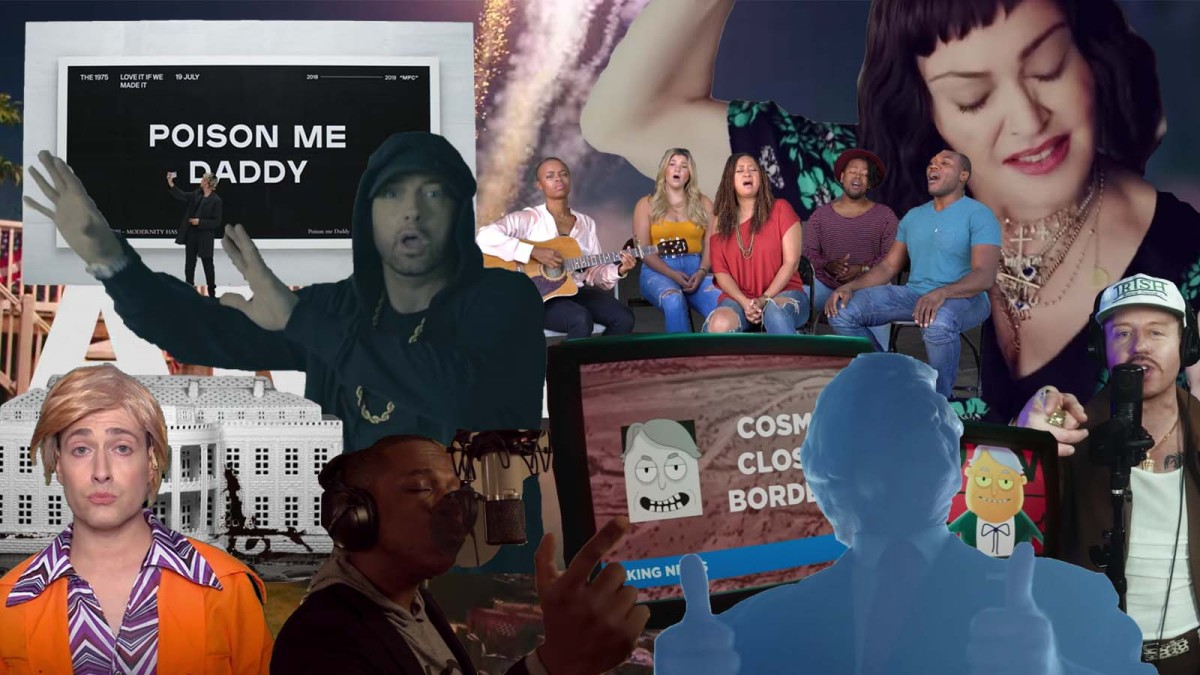 A collage of screenshots from music videos of embarrassing songs about hating Trump