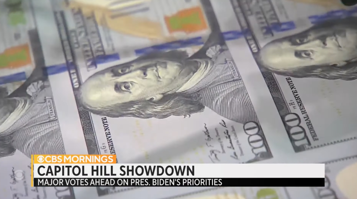 Screenshot of CBS story about the Congressional fight over the debt ceiling and Biden's agenda.