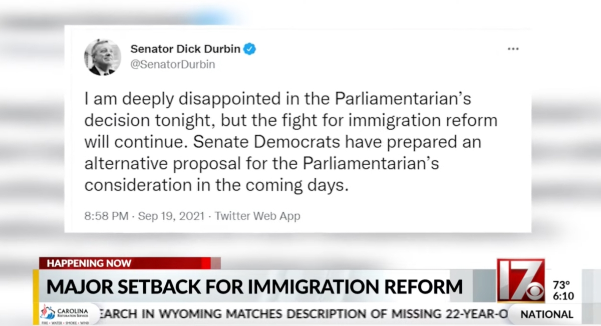 Screenshot of news story about the Senate Parliamentarian rejecting immigration reform