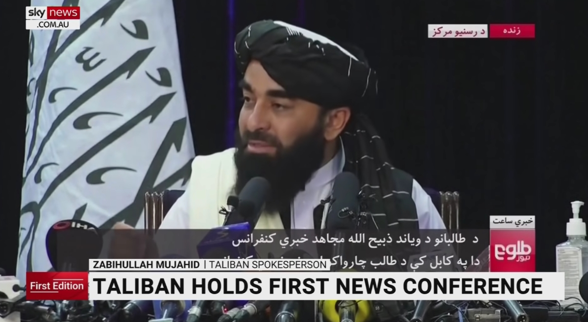 The Taliban holds a news conference after taking over Afghanistan.