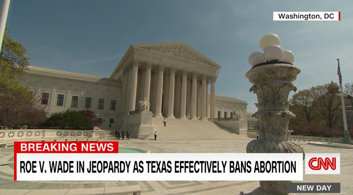 A shot from CNN about the news that a Texas abortion ban has gone into effect.