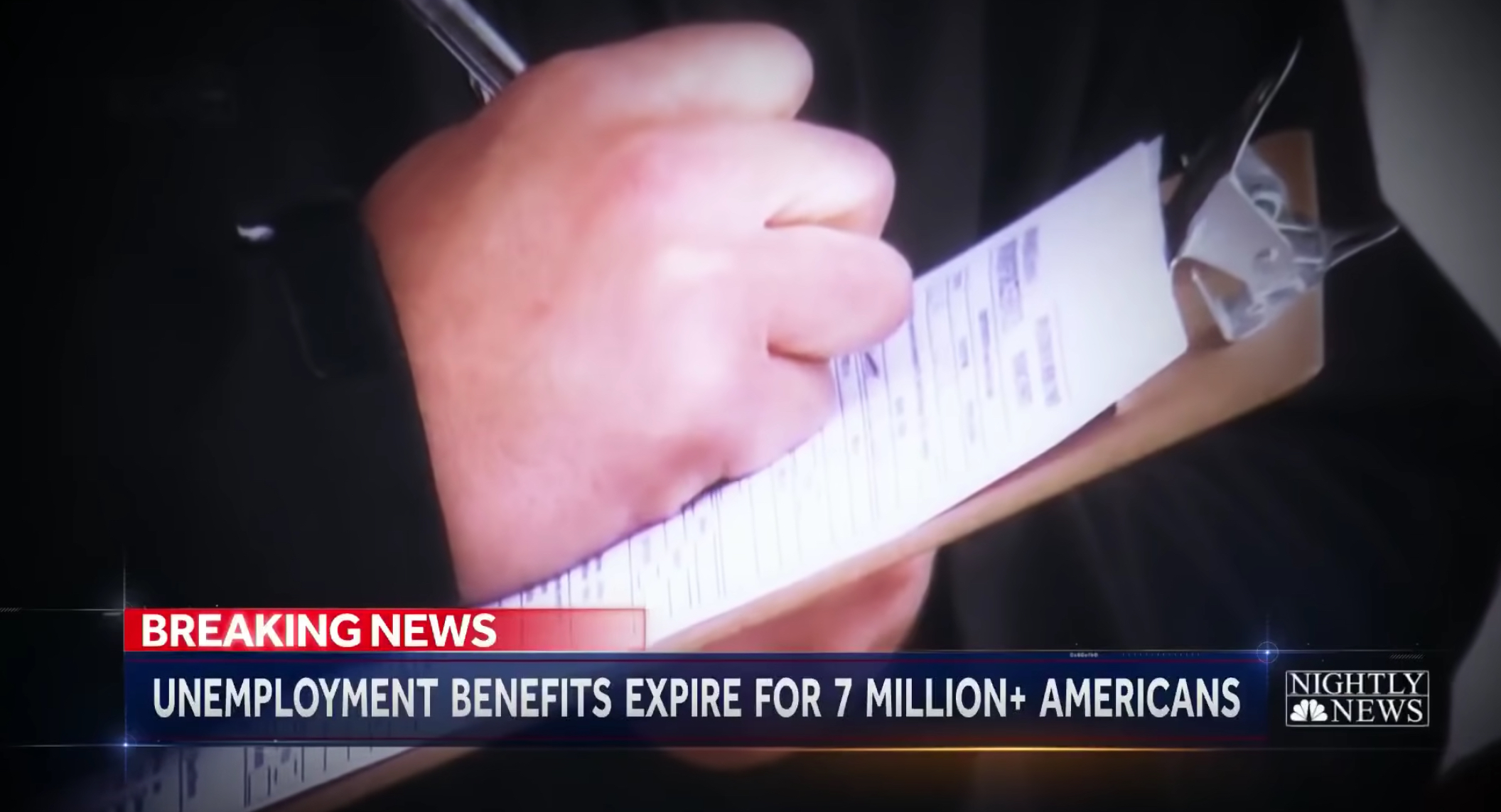Screenshot from NBC News story about unemployment benefits ending.
