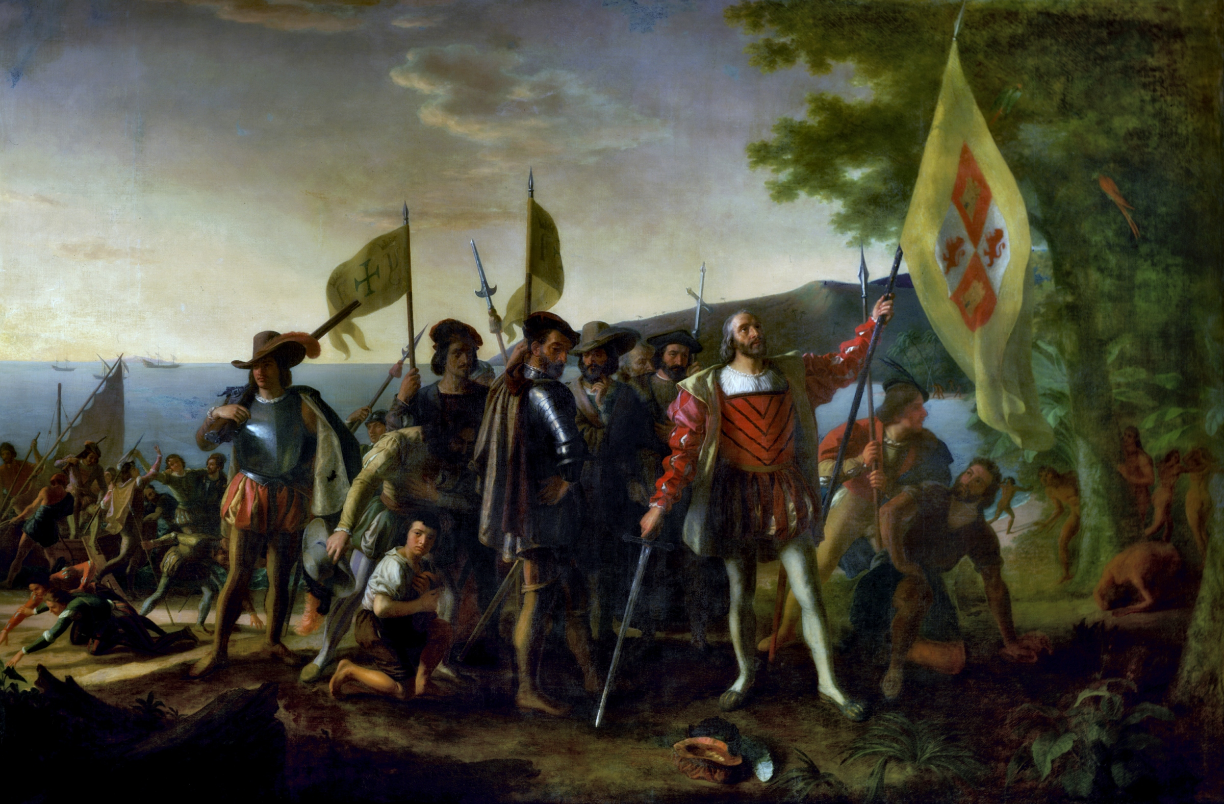 A painting of Columbus landing in the Americas. Conservatives are accidentally right about Columbus Day.