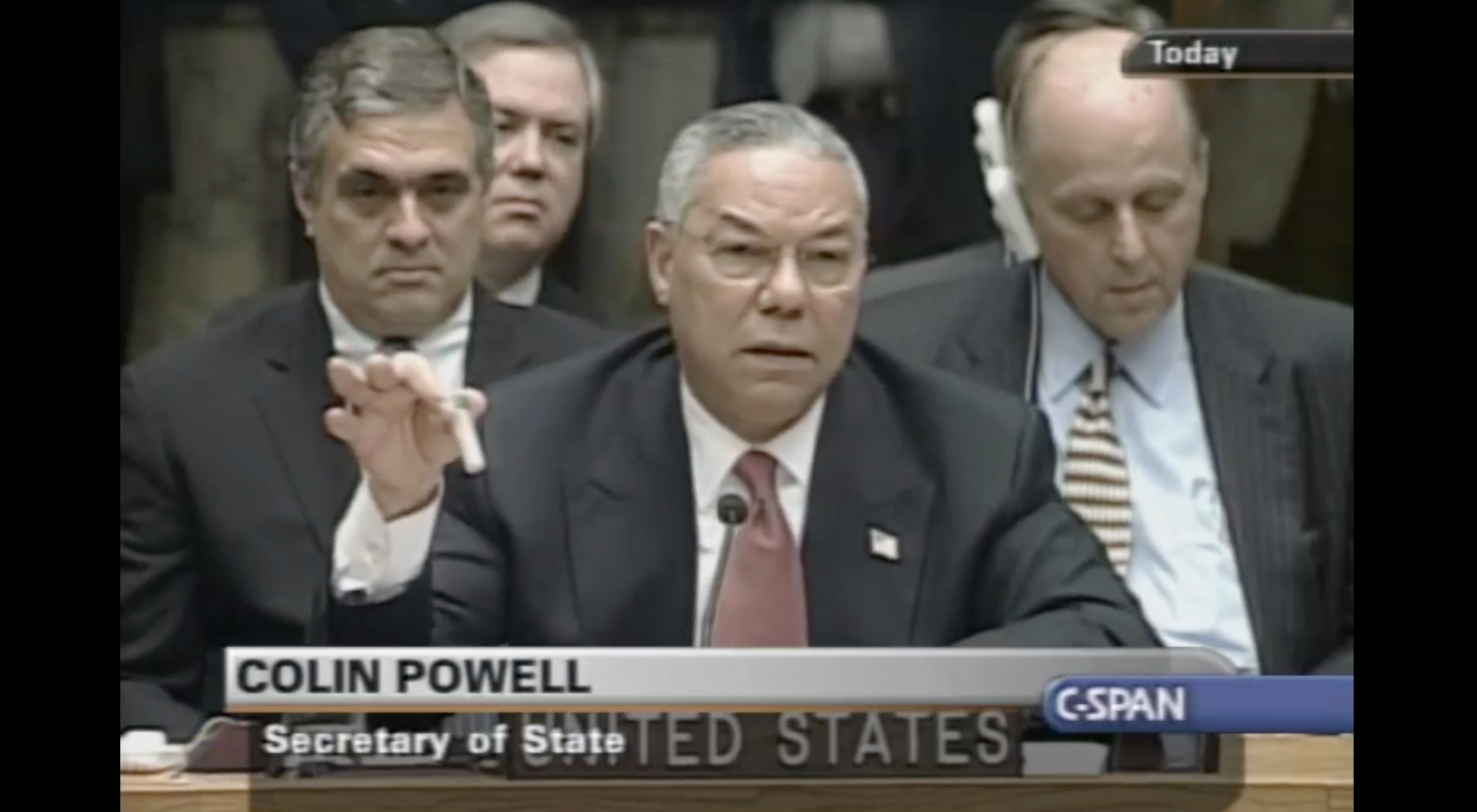 Colin Powell giving his speech to the United Nations in February 2003.